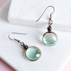 simple turquoise blue glass dangle earrings